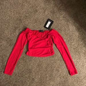NWT Sexy crisscrossed Red ribbed crop top